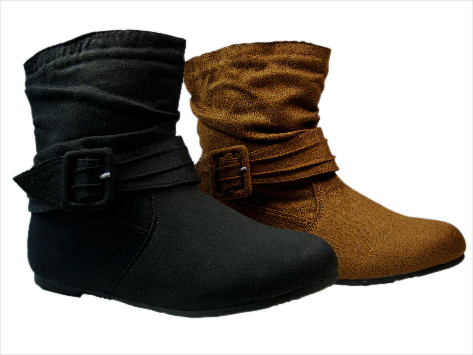 Women Shoes Flat Ankle Buckled Boots Faux Suede Size 5.5--10 CAMEL BLACK   GA16