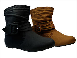 shoes flat ankle buckled boots faux suede size 5 5