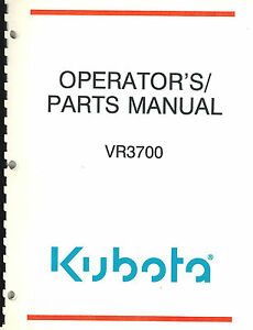 Details about KUBOTA VR3700 REEL MOWERS OPERATOR'S and PARTS MANUAL