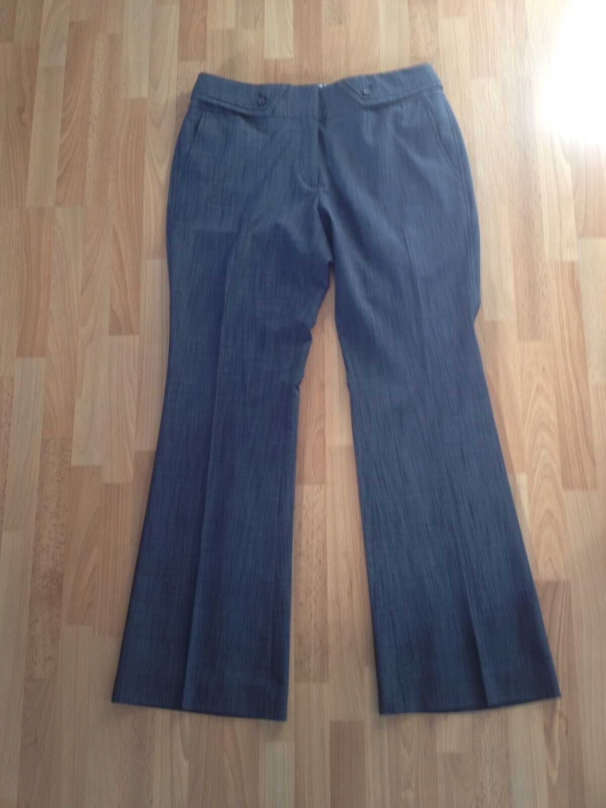 Ladies Jasper Conran Grey bluee Bootcut Tailored Trousers-Size 12 Petite FREE P&P