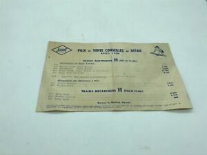 Old Booklet, Brochure Jouef Price Of Sale April 1958, 4 Pages. 21 X 14 CM