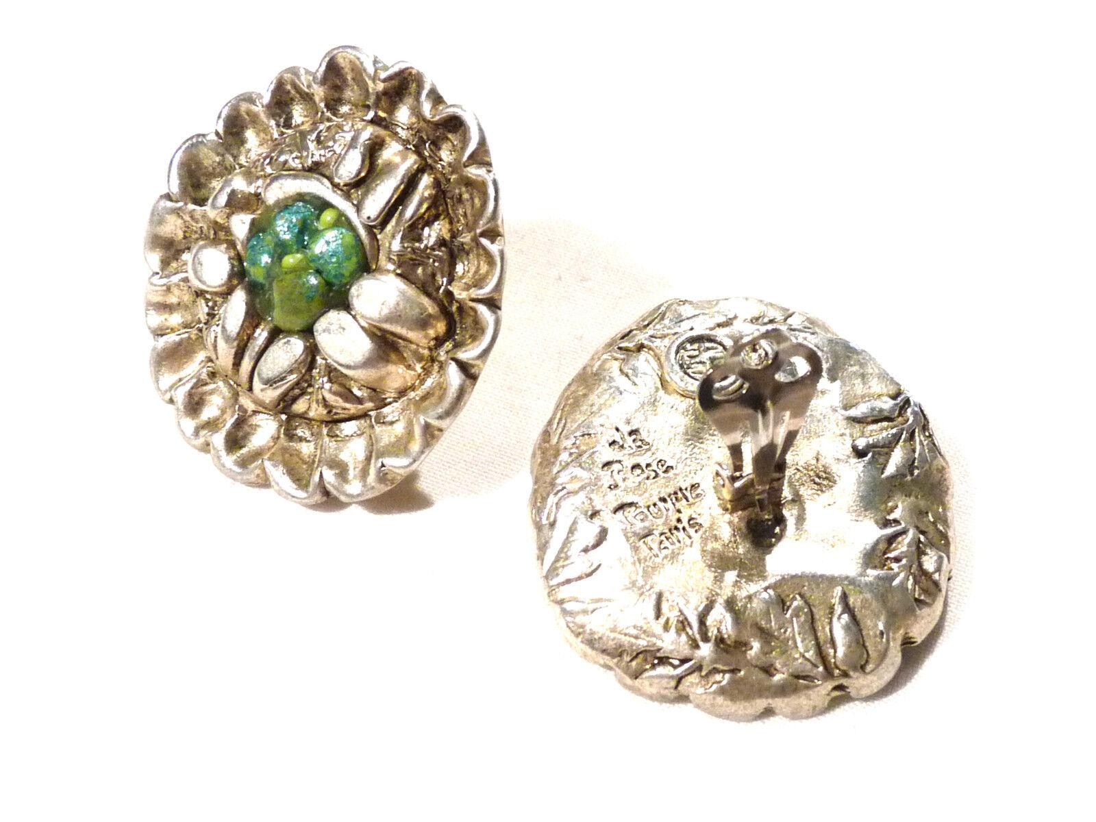 Bijou alliage argentoé boucles d'oreilles clips La rosa Pourpre Paris Paris Paris earring d88a2c