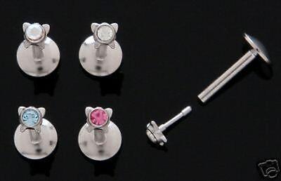 Kugel 5 mm mit Stein in klar Lippen Piercing Labret 1,2 mm 8 mm NEU