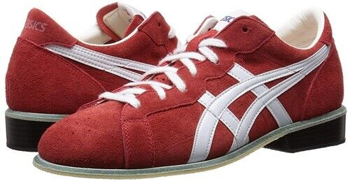 NEW ASICS Weight Lifting shoes 727 Red White Leather US6-US10.5 from JAPAN