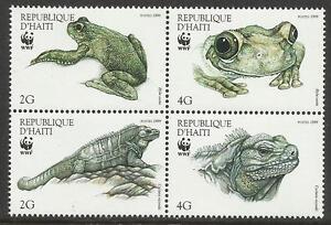 HAITI-WWF-WORLD-WILDLIFE-FUND-1999-IGUANA-amp-TREE-FROG-4v-MNH