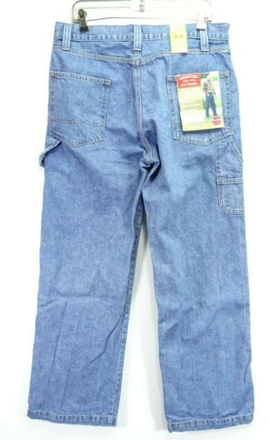 New Signature Levi Mens Relaxed Carpenter Work Cotton Denim Jeans 34 x 32