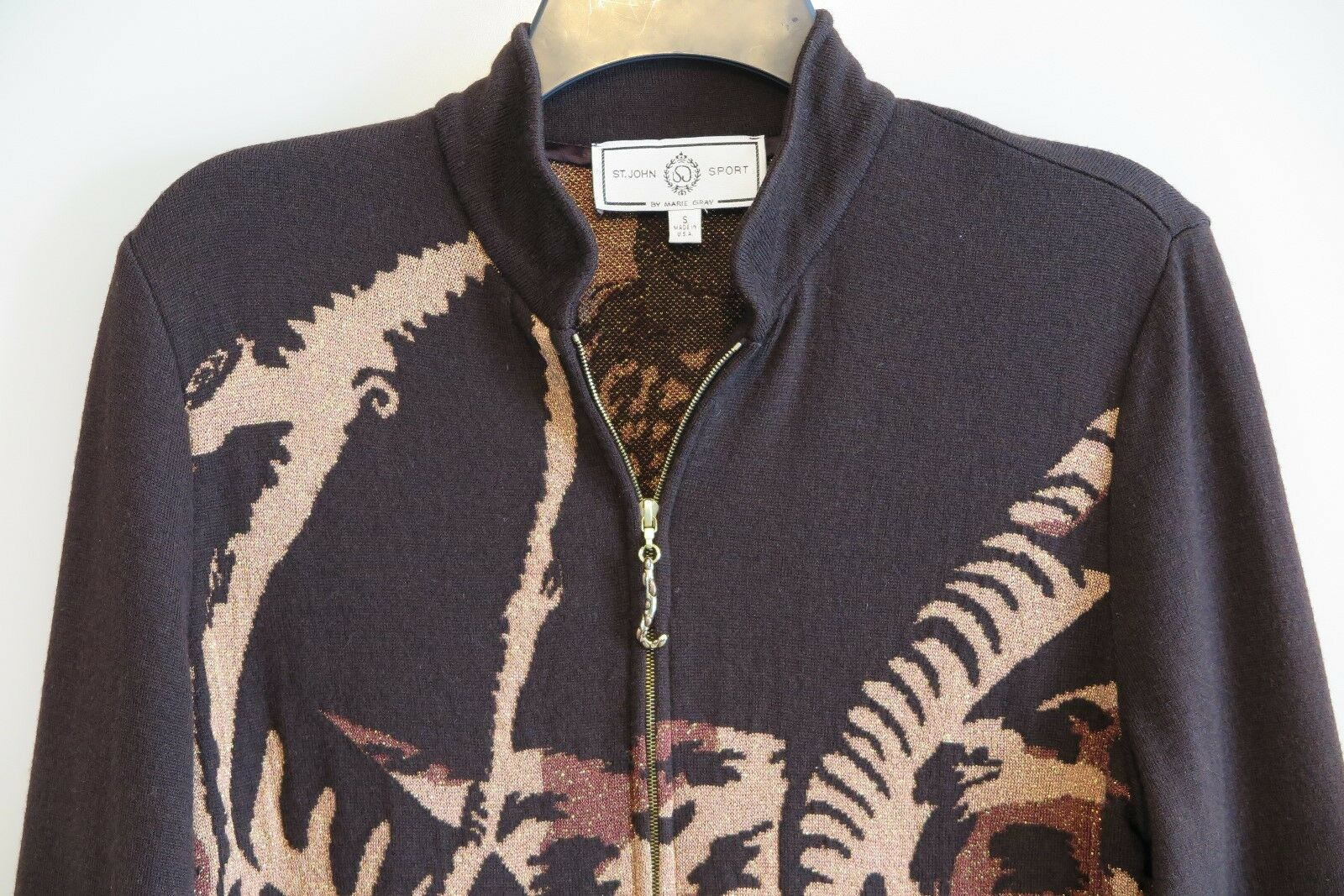 ST. ST. ST. JOHN SPORT Brown Metallic Tiger Print Zip-Front Cardigan Size S Made in USA d2c02d