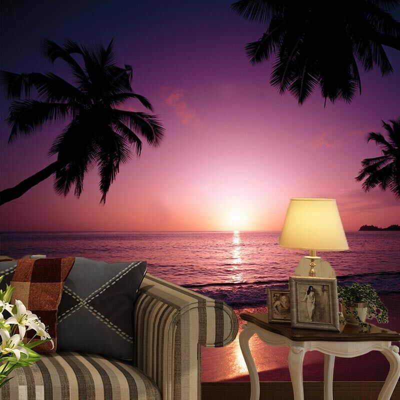 3D Purple Sunset Beach 44 Wall Paper Wall Print Decal Wall Deco Indoor Mural