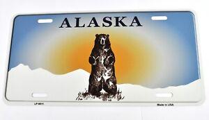 USA Alaska Grizzlybär Nummernschild License Plate Deko Schild Blechschild
