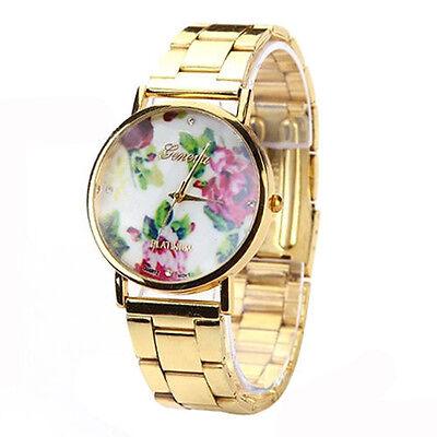 New Fashion Women Lady Round Geneva Stainless Steel Quartz Analog Wrist Watch