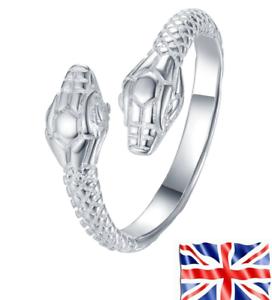 Free Bag Rings 925 Silver Plated Adjustable Cool Snake Fashion For Women Men UK
