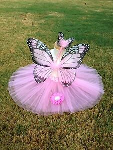 PINK-Monarch-Butterfly-Costume-Wings-Wand-Set-Halloween-Girl-2T-5T