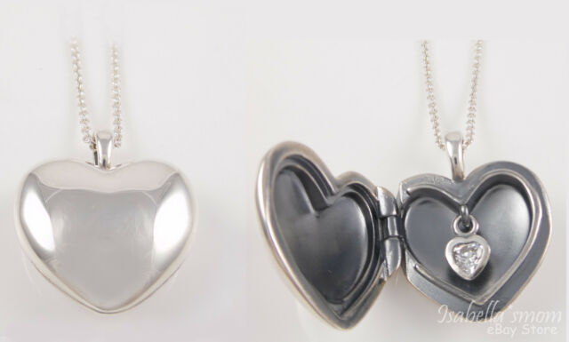 7e2f45373 ... get retired pandora plain heart love locket clear cz necklace pendant  390355cz 38dc6 d8716
