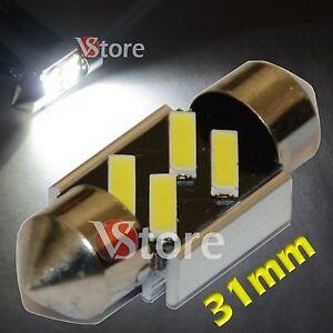 2-LED-Festoon-31mm-Canbus-4-SMD-7020-No-Errore-Lampade-Luci-BIANCO-Interno-Targa