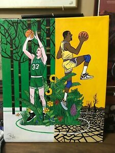 Magic-Johnson-and-Larry-Bird-Oil-Painting-on-Canvass-20-034-x-24-034-M-amp-B01