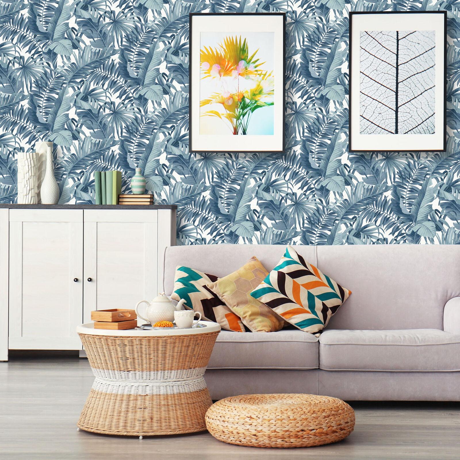 Une rue Imprime//Fine Decor Blue Palm Leaf Jungle Collez Le Mur Papier Peint