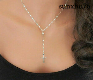 Simple-Y-Necklace-with-Cross-Lariat-Women-039-s-Necklace