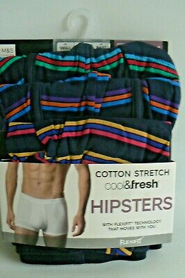 M/&S 3 PACK Mens  COOL FRESH 4 Way Cotton StretchFLEXIFIT Hipsters SMALL
