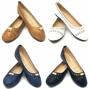 Women-Ballerina-Ballet-Flats-Shoes-Slip-Ons-Loafers-Shoes-Perforated-Design