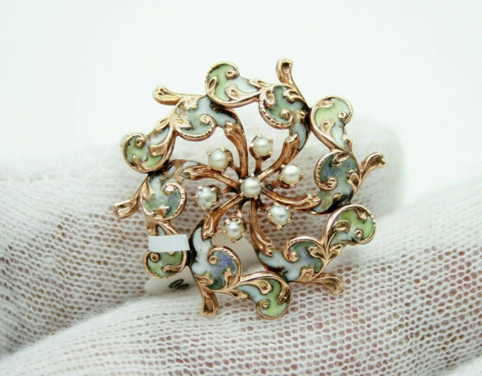 VINTAGE RETRO 14K YELLOW gold ENAMELED SEED PEARLS PIN BROOCH