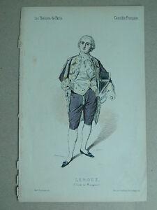 XIX Incisione Colori I Teatri di Parigi Lorsay Collette Ritratto Leroux 1852
