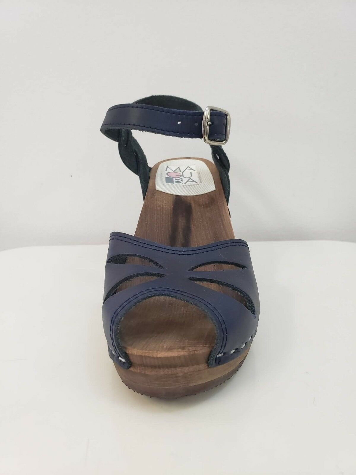Maguba Rio Leather Open Toe Sandal with Natural Wood Heel NAVY Größe 38