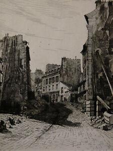 Eau-forte Imp. Beillet (xix)percement De La Rue Soufflot St Hyacinthe St Michel Suppression De L'Obstruction