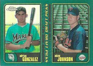 ADRIAN GONZALEZ / JOHNSON 2001 TOPPS CHROME RETROFRACTORS #277 RANGERS/TWINS