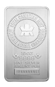 Royal-Canadian-Mint-RCM-10oz-Silver-Bar-9999-Fine-in-Assay