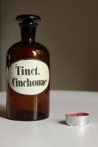 Alt Cinchonae Schliff Stopfen Tinct Bescheiden Apothekerflasche Form Selten Rund