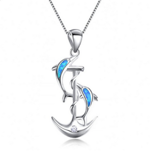 Fashion Woman 925 Silver Dolphin Blue Fire Opal Charme Collier Pendentif Chaîne Nouveau