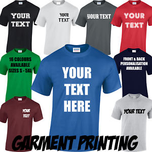 9583c441 Image is loading PERSONALISED-T-SHIRT-CUSTOM-DESIGN-YOUR-TEXT-PRINTED-