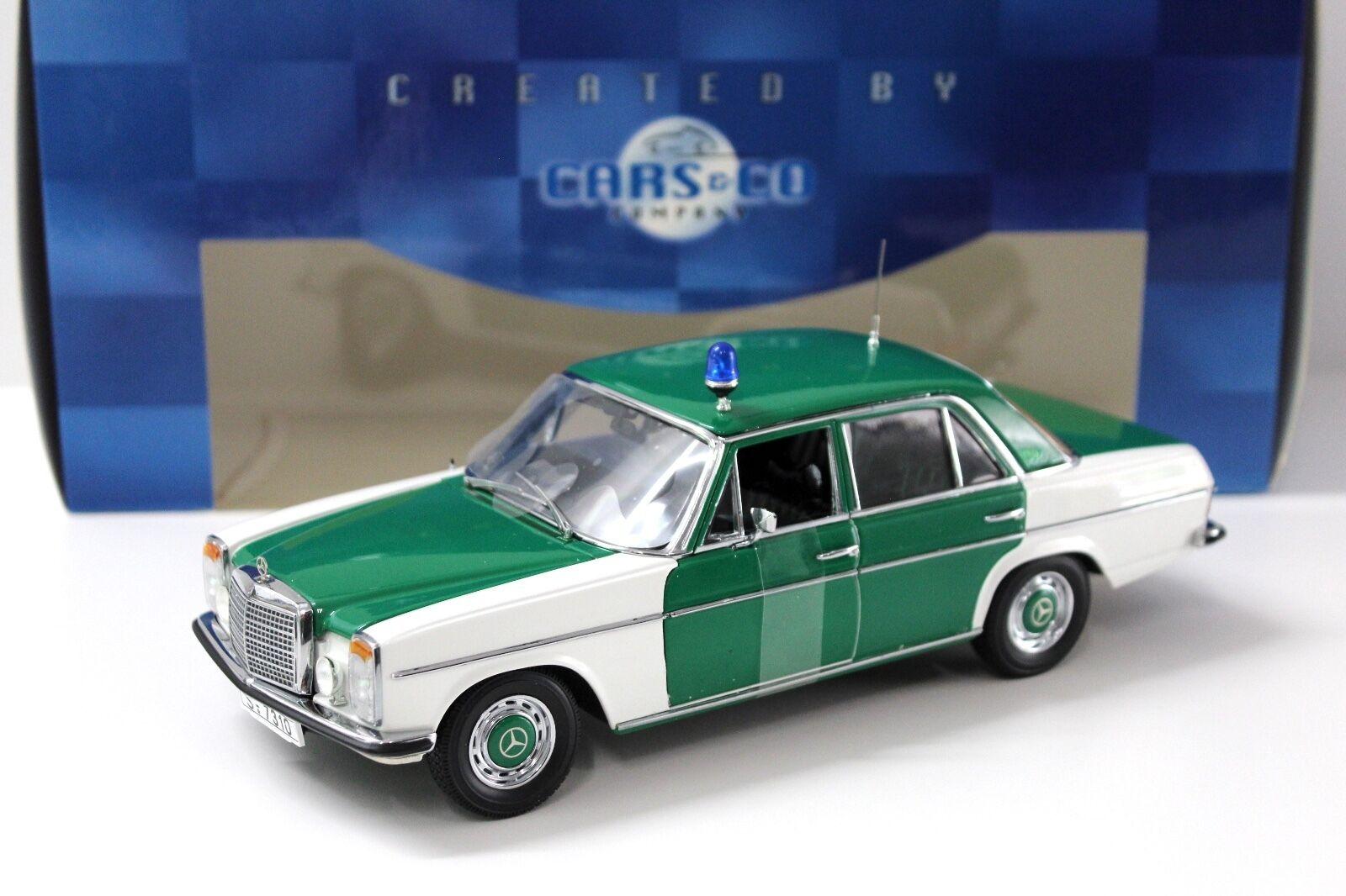 1 18 Sun Estrella mercedes 220 8 policía blanco verde New en Premium-modelCoches
