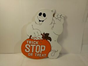 Wooden-Trick-Or-Treat-Stop-Sign-Ghost-Autumn-Fall-Halloween-Decoration-h178