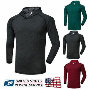Men-039-s-Slim-Fit-Long-Sleeve-Shirts-Hooded-Muscle-Tops-Hoodie-Casual-Sport-T-shirt