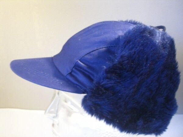Mütze Trapper Pilot Kosaken Gr. 55 blau mit Ohren Fell original Vintage