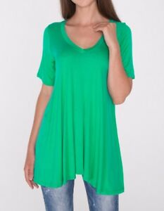 488ef3600d1 Kelly Green A-Line V-Neck Loose Tunic Top T-Shirt Blouse SML/Plus ...