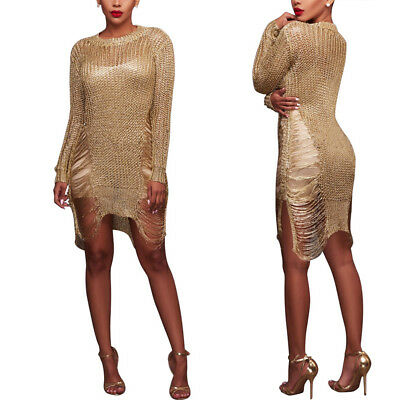 Sexy Women Hollow wool Beach Sweater Dress Skirt Party Long Sleeve Mini Dresses