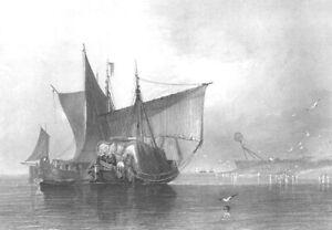 SAILBOAT SHIP  in YARMOUTH HARBOR ~ Old 1836 Nautical Marine Art Print Engraving