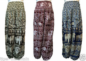 New-Harem-Trousers-Baggy-ELEPHANT-PRINT-Hippy-Boho-One-Size-New-Price