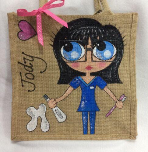Gift In Handtas Gepersonaliseerde Handbeschilderd Handtas Dental Scrubs Style Nurse Jute klOwXiTPZu