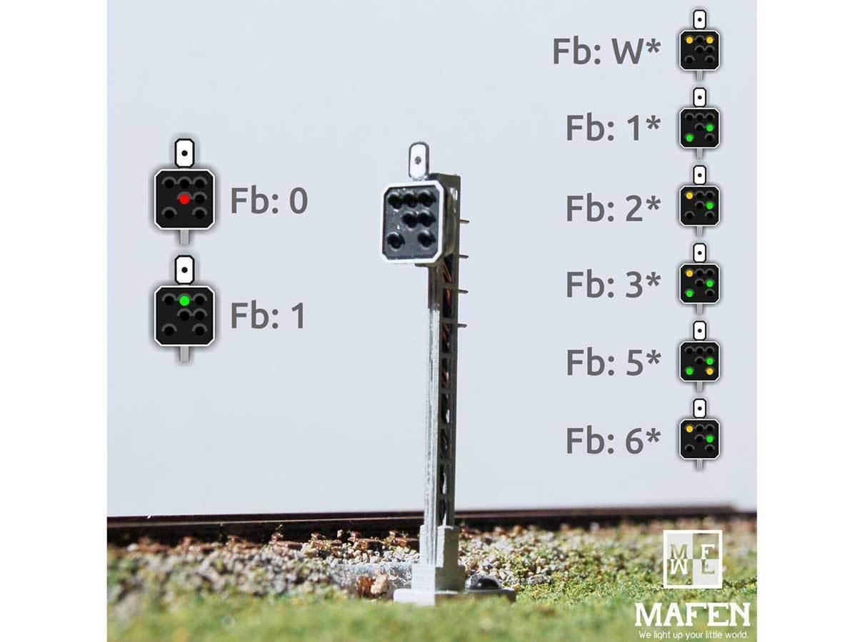 Mafen 4136.14 - SBB-bloque señal de 7 luces amarillo verde amarillo rojo verde verde amarillo