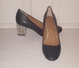 bea47a40db Calvin Klein Cirilla Black Leather Block Snake Heel Pumps Shoes Size ...