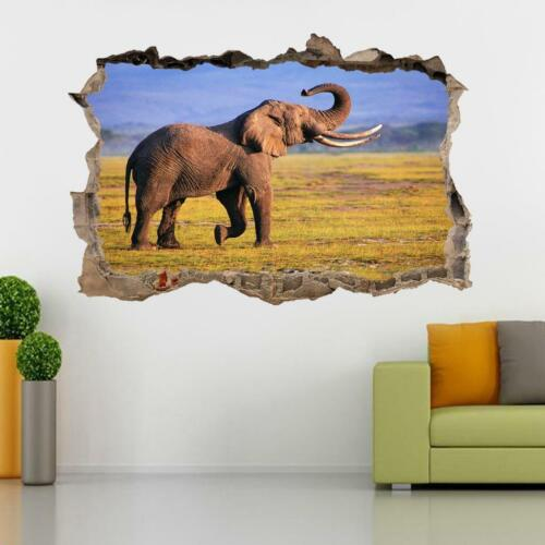 Elephant Smashed Wall Sticker Decal Home Decor Art Mural Animals J440