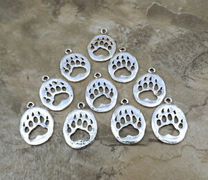 10 Silver Plated Pewter BEAR PAW Charms - 5161