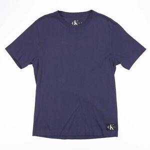 Calvin-Klein-Jeans-Bleu-Marine-Col-Rond-T-Shirt-Taille-Homme-Medium