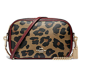 NWT-Coach-ISLA-Chain-Crossbody-Signature-Leopard-Print-Natural-Chain-Bag