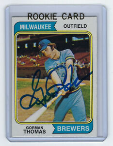 1974 BREWERS Gorman Thomas signed Rookie card Topps #288 AUTO RC Milwaukee