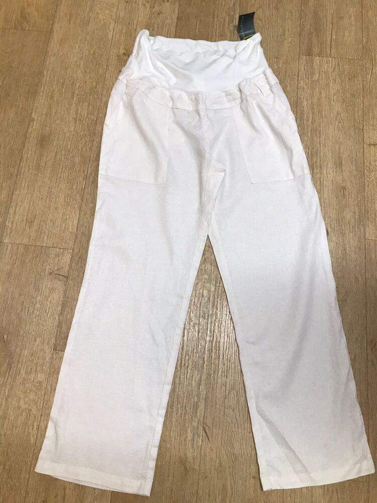 Blooming Marvellous Maternité Pantalon En Lin Blanc Taille 14 Viscose Bnwt Holiday