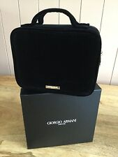 GIORGIO ARMANI BLACK VELVET RIGID VANITY CASE / MAKE UP / JEWELLERY BOX